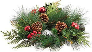 Set of 2 Christmas Artificial Pine Candle Rings With Apples Pine Cones and Holly Berries
