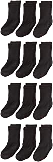 Boys' Big 12-Pack Crew Socks, Black, Medium - Shoe Size:...