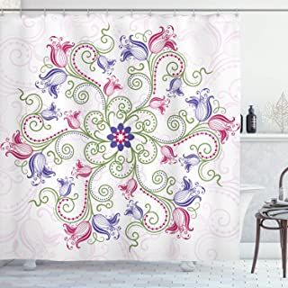 Ambesonne Mandala Shower Curtain, Round Flower Frame Design Classical Vintage Floral Art with Ottoman Tulips, Cloth Fabric Bathroom Decor Set with Hooks, 75