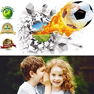 Soccer Wall Decals 3D Soccer Ball Wall Decor Art Removable Vinyl Soccer Wall Stickers Football Sports Wall Murals Decorations Basketball Décor Poster as Birthday or Xmas Gifts(Soccer Wall Decal)