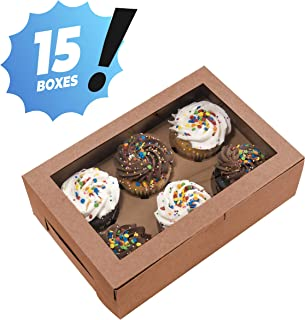Essos Cupcake Boxes for 6 Kraft with Clear Display Window [15 pieces] Cupcakes Container or Packaging Box Kit for Chocolate Truffles Cake Pops Desserts Mini Cookies Pies or Muffins