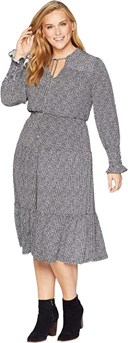 Plus Size Check Long Sleeve Tie Neck Dress