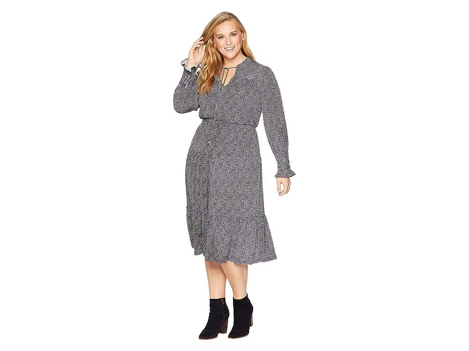 MICHAEL Michael Kors Plus Size Check Long Sleeve Tie Neck Dress (Black/White) Women