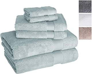 Towels Beyond Luxury 6 Piece Bath Towel Set - Quick Dry Hotel and Spa Soft Cotton Linen Made with 100% Turkish Cotton (Sea Foam)