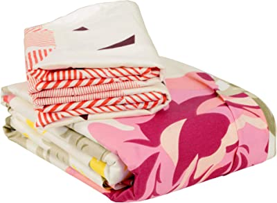 Story@Home Valentine Floral 100 % Cotton Premium King Size Bedsheet with 2 Pillow Covers, Pink