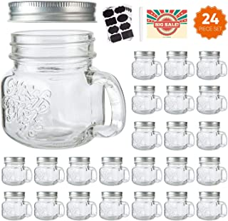 8 oz Glass Mason Mugs with Silver Lids,Mason Jar Glasses withAirtight Lids For Beverages,Canning Jars with Handle For Kitchen Storage,Glass Jars With Handle And Chalkboard Labels Marker Set of 24