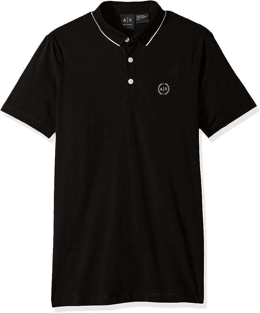 Armani exchange polo, maglietta per  uomo a maniche corte, 95% cotone, 5% elastan, nera 8NZF70Z8M9Z