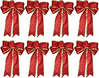 Lvydec 8 Pack Glitter Christmas Bows Decoration - Red Bows Ornaments for Christmas Tree Christmas Wreath Garland Holiday Party Decoration (Red)