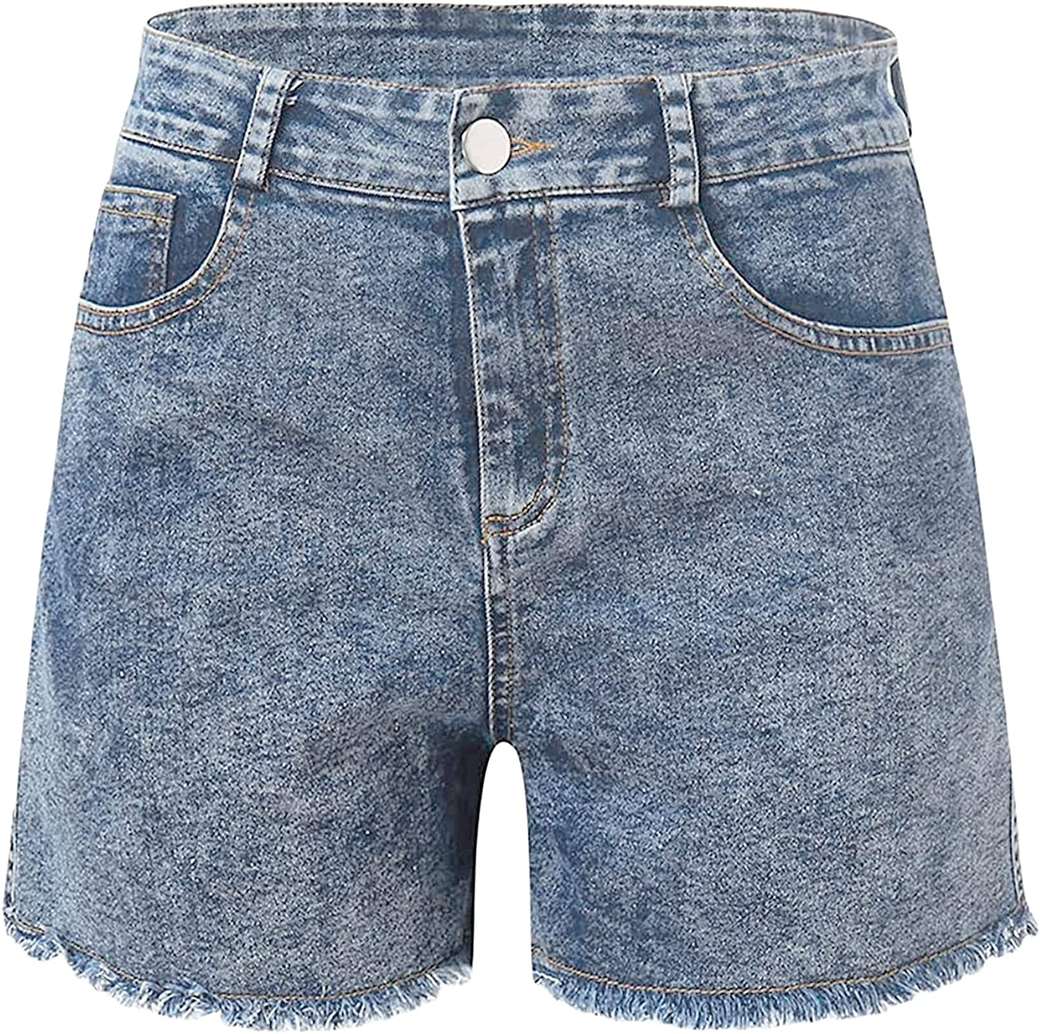 Women Frayed Skinny Jean Shorts Butt Lifting Raw Hem Stretchy Short Jeans Summer High Rise Sexy Fitted Denim Shorts