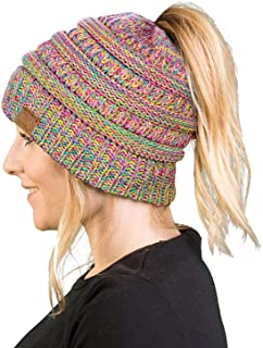 Women's Beanie Ponytail Messy Bun BeanieTail Multi Color Ribbed Hat Cap