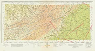 Map - Winston-Salem Section Of United States Airway Map, VA, KY, TN, NC, 1935 Aeronautical NOAA Chart - Vintage Wall Art - 24in x 13in