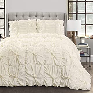 Lush Decor Bella Comforter Set Shabby Chic Style Ruched 3 Piece Bedding with Pillow Shams-King-Ivory