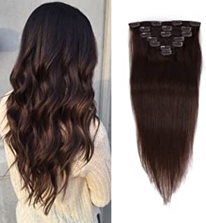 14 inches Clip in Hair Extensions Real Human Hair - 70g 7pcs 16 Clips Straight 100% Remy Human Hair Extensions for Women Dark Brown #2 Color