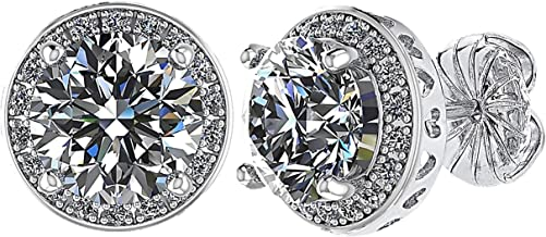 NANA 3.0ctw Swarovski Zirconia Round Halo Sterling Silver Earrings with Hypoallergenic Stainless Steel Posts & Backs