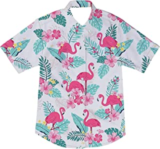 Little & Big Boys Button Down Shirts Hawaiian Aloha Short Sleeve Party Camp Holiday Casual Novelty Dress Shirt (Size 2-14T)