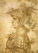 Meishe Art Canvas Poster Print Wall Art Artwork Pictures Profile of a Warrior in Helmet Drawing by Leonardo Da Vinci Painting Reproduction (Canvas Print Without Frame)