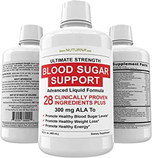 Blood Sugar Support Liquid Supplement - 28 Vitamins Minerals and Herbs with 300 mg Alpha Lipoic Acid Multivitamin Formula ...