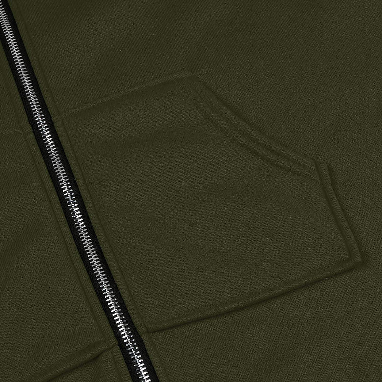 Frauen lässig Mode solide und Bedruckte Jacke Reißverschluss Tasche Sweatshirt Langarm Mantel Lange Kapuze Jacke M