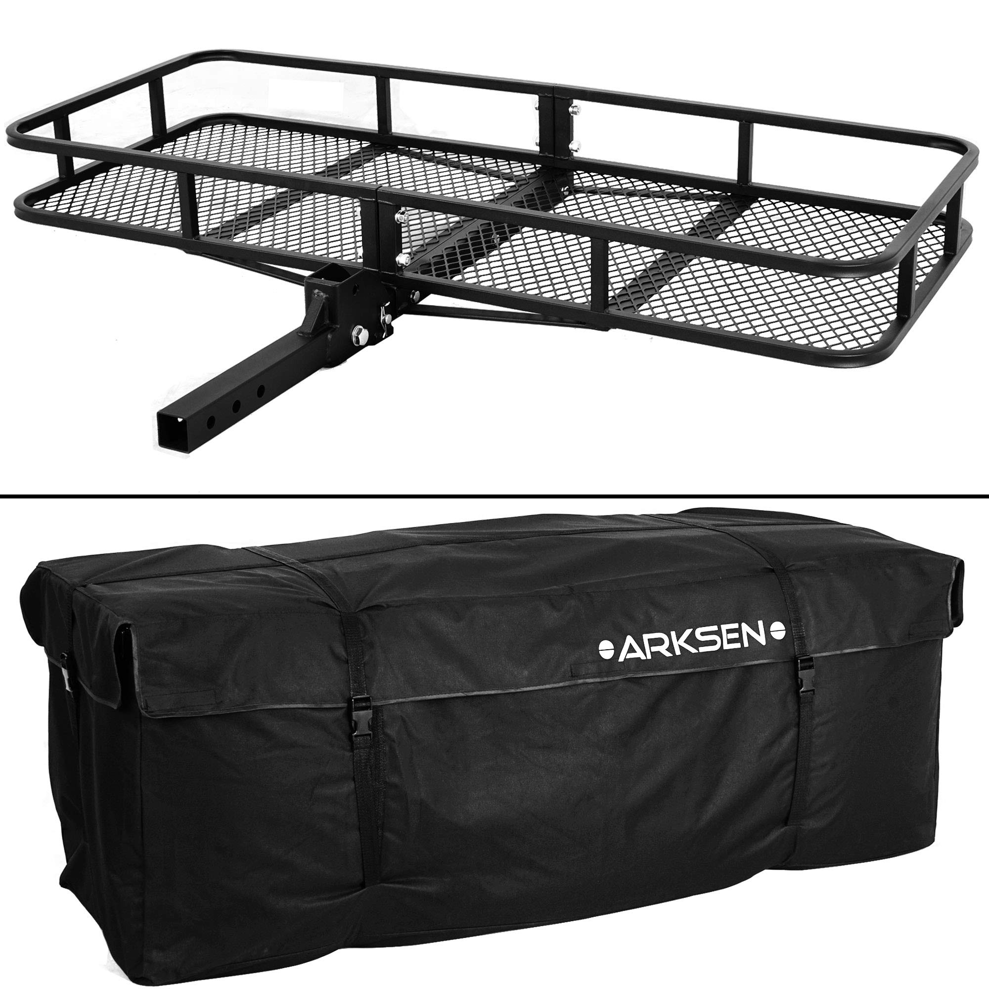 """ARKSEN 8"""" x 8-8/8"""" inch Cargo Hauler Carrier Hitch Mounted Luggage Basket  with Cargo Bag Combo 8"""" Receiver Camping RV SUV"""