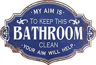 Creative Co-Op Distressed My Aim is to Keep Clean Metal Bathroom Decorative Wall Sign, Blue