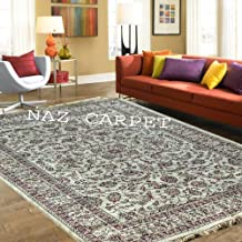 Naz Carpet Kashmiri Traditional Design Silk Carpet & Classical Look 180x275cm 6 Feet by 9 Feet Color Ivory