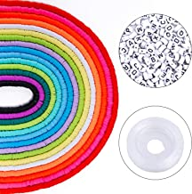 Bracelets Necklace Making Kit 15 Colors 6mm 5250pcs Flat Beads Clay Heishi Beads and Letter Beads for Jewelry Making 600pcs Letter Beads with Elastic String