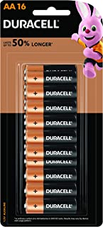 Duracell Coppertop AA 1.5V Alkaline Battery, 16 count, Pack of 16