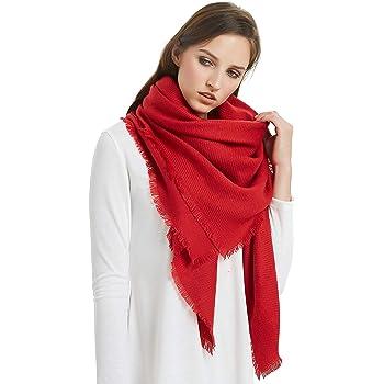 VIVIAN & VINCENT Soft Classic Luxurious Blanket Solid Color Square Scarf Wrap
