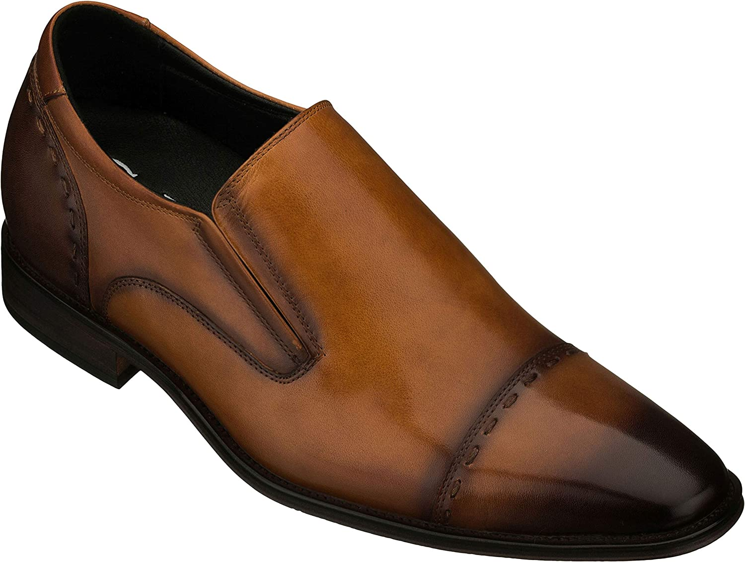 CALTO Men's Invisible Height Increasing Elevator Shoes - Leather Slip-on Formal Dress Loafers- 2.8 Inches Taller