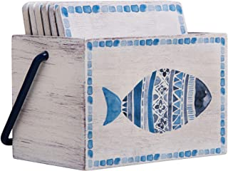 Home Essentials Global Tide Fish Coasters Set of 6 with Wood Caddy