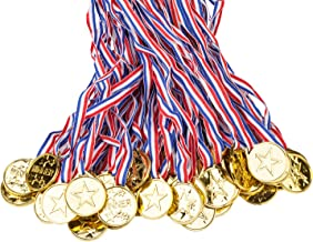 100 Packs Children's Gold Plastic Winner Medals Kids Golden Winner Awards Medals