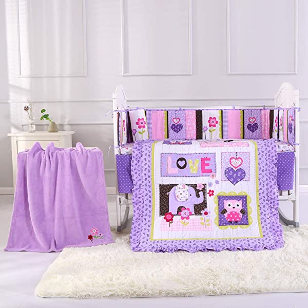 Wowelife Purple Elephant Nursery Set 100 Cotton Upgraded Flower Birds Elephant Crib Bedding Sets 8 Piece For Baby Girls And Boys With Bumpers And Blanket Purple 8 Piece