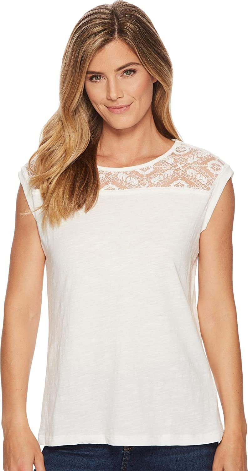 Tribal Womens Cap Sleeve Top with Lace Neck Detail