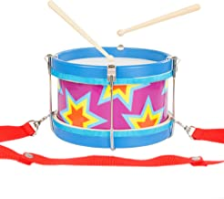 Hey! Play! Children's Toy Snare Marching Drum, Double-Sided with Adjustable Neck Strap & Two Wood Drum Sticks- Music Fun