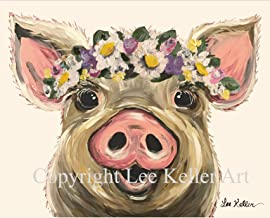 Pig with flowers art 'Posey' Pig Lover Gift, Pig art print
