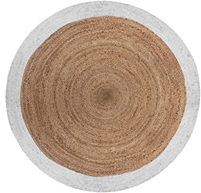 AC-Déco Tapis Rond Bord Blanc en Jute végétale - D 120 cm