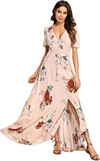 20f0125316 Milumia Women Floral Print Button Up Split Flowy Party Maxi Dress