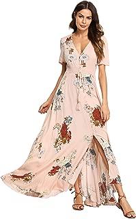 Milumia Women Floral Print Button Up Split Flowy Party Maxi Dress