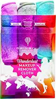 RAINBOW ROVERS Set of 3 Makeup Remover Wipes   Reusable & Ultra-fine Makeup Towels   Suitable for All Skin Types   Removes Makeup with Water   Free Bonus Waterproof Travel Bag   Daydreamer
