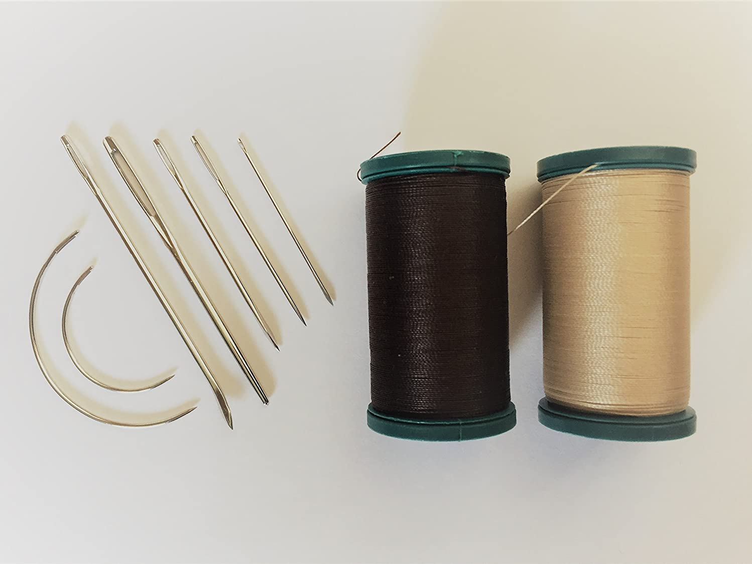 Outdoor Upholstery Repair Kit Coats Weather and UV Resistant Thread Plus Heavy Duty Assorted Hand Needles: 7 Needles and 2 spools 200 Yards Each Dk Brown & Khaki