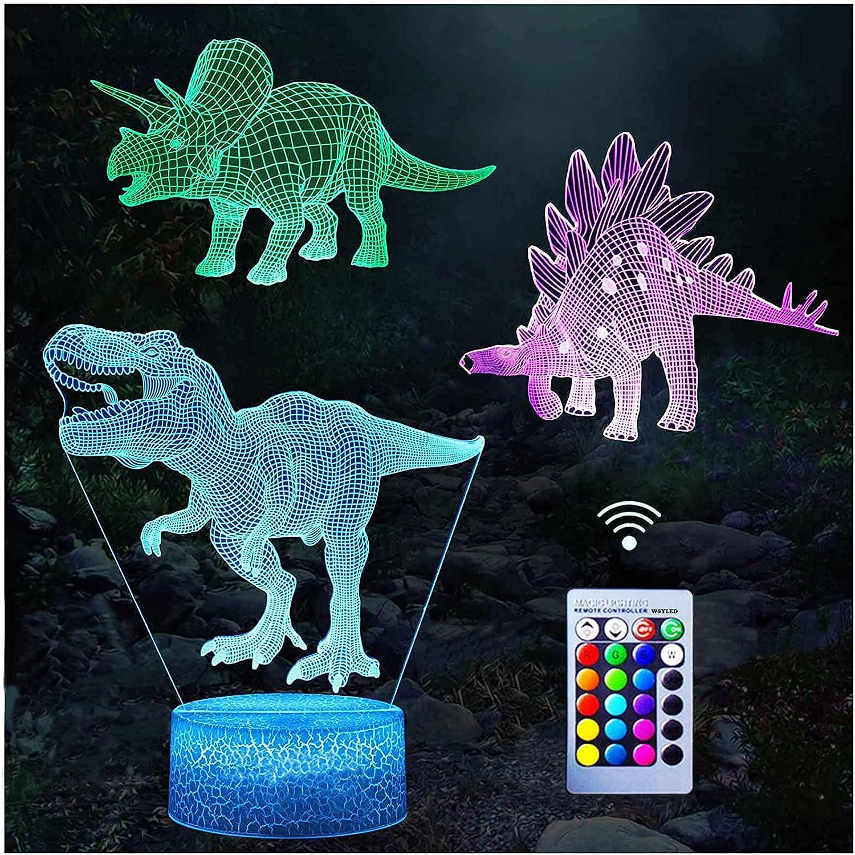 Dinosaur night light illusion Albuquerque Mall desk lamp changing colors 4 Superior 16 and