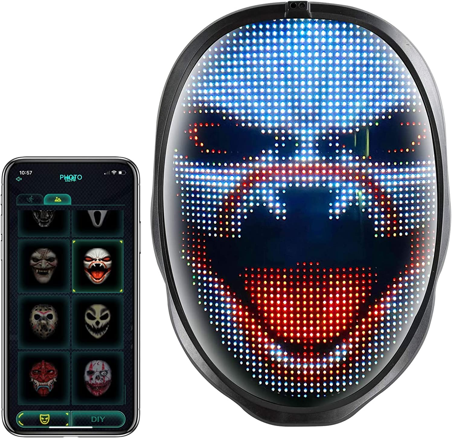 LED Mask with Bluetooth for Halloween Cosplay Memphis Mall Party F In a popularity Props Game