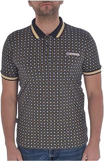 Lambretta Mens Geometric AOP Cotton Polo Shirt - Navy - S