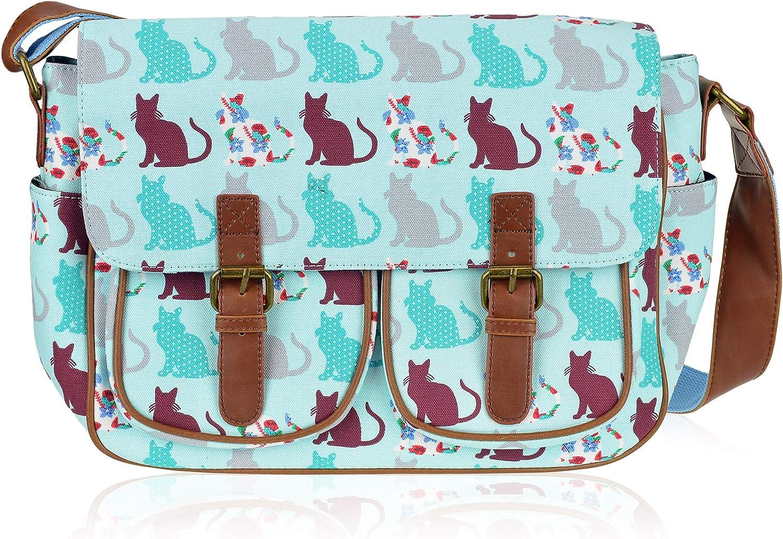 Miss Lulu Bright Floral Oilcloth Backpack Womens Girls School Bag Rucksack