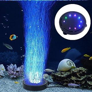 水槽ライト 水族館エアストーン ミニ気泡ストーン 水族館空気石 エアーポンプ 酸素補給 水槽装飾 気泡盤 LED水槽ライト付き多色 吸盤式 丸形
