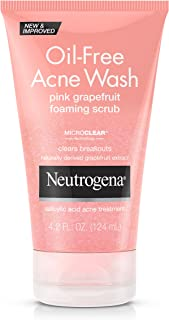 Neutrogena Oil Free Pink Grapefruit Acne Face Wash with Vitamin C, Salicylic Acid Acne Treatment Medicine, Gentle Foaming Vitamin C Facial Scrub to Treat and Prevent Breakouts, 4.2 fl. oz