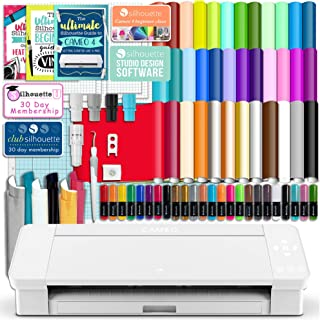 Silhouette White Cameo 4 Starter Bundle with 38 Oracal Vinyl Sheets, T-Shirt Vinyl, Transfer Paper, Class, Guides and 24 Sketch Pens