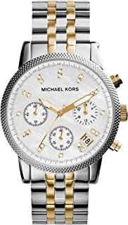 Michael Kors Two Tone Watch for Women - Analog Stainless Steel Band - MK5057