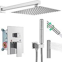 Heyalan Shower System Polish Chrome 10 Inch Rain Shower Head Square Rainfall Shower Faucet Fixture Combo Set Bathroom with...