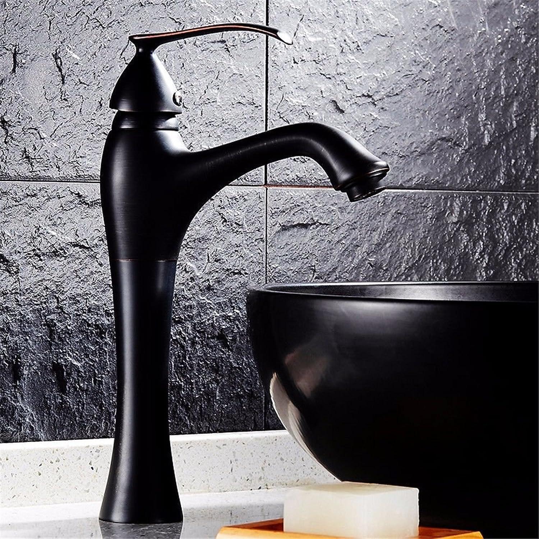 LHbox Basin Mixer Tap Bathroom Sink Faucet The full bench antique copper basin faucet continental black basin mixer cool retro-washing, toilet
